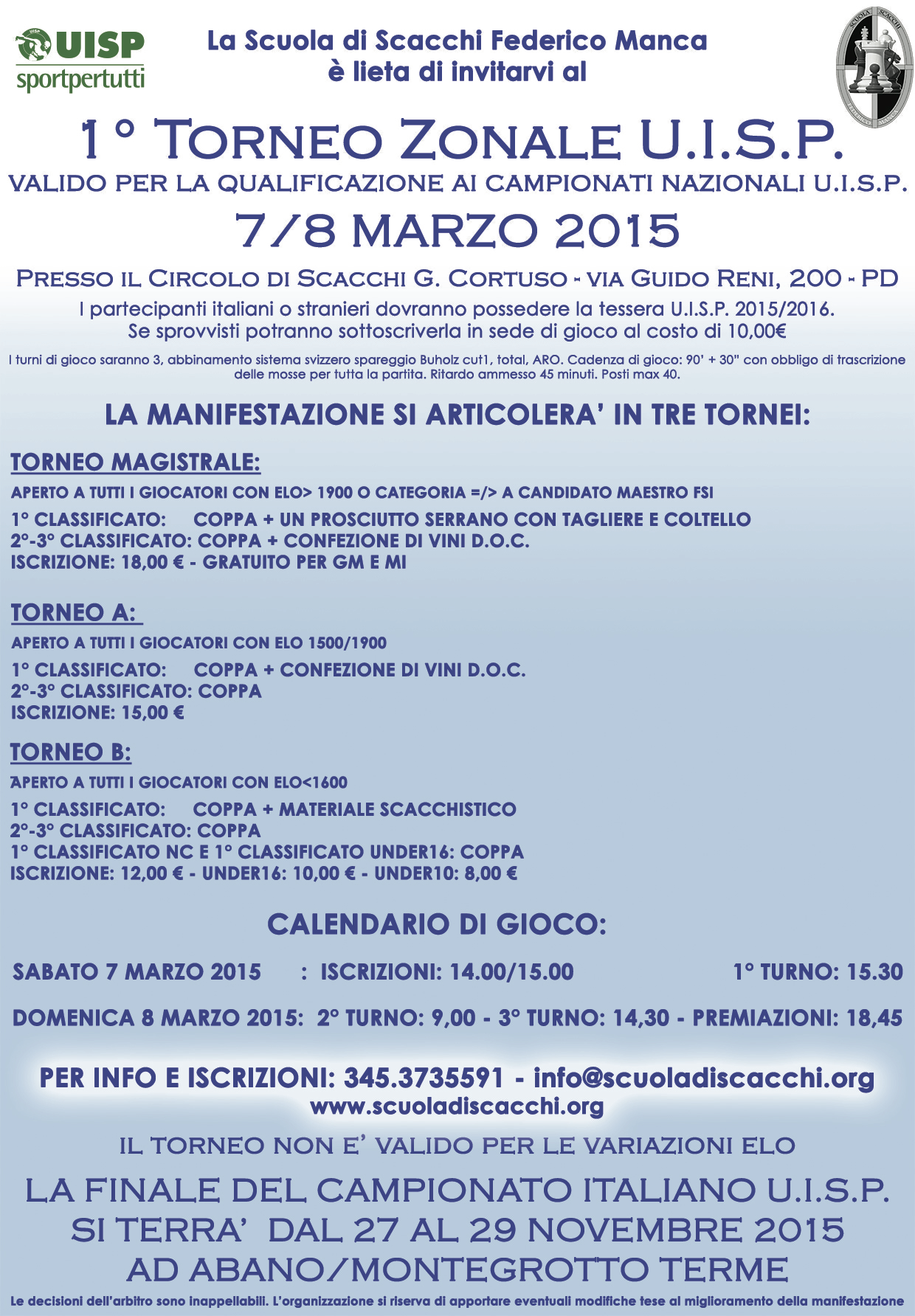 Calendario Tornei Scacchi.Scuola Di Scacchi Federico Manca 1 Torneo Zonale U I S P